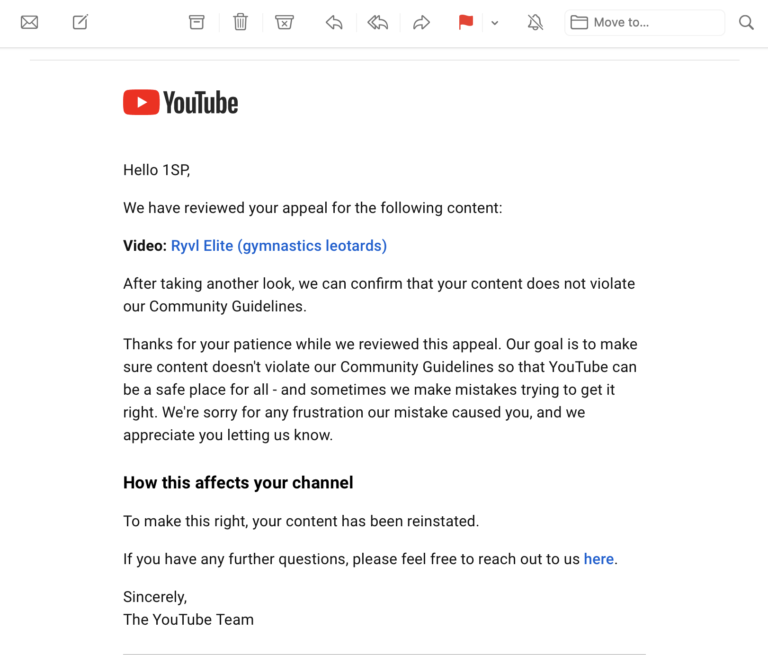 screenshot of email form YouTube