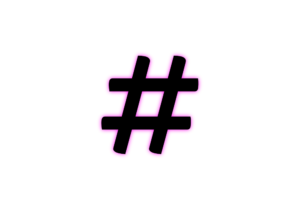 image of glowing hashtag